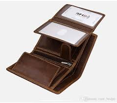 new trifold coin bags genuine leather wallets card protector mens vintage cowhide 10 card holder large capacity brown w111 hobo wallets on wallet on a