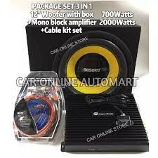 BOSOKO 12 Inch Subwoofer 700W + Mono Block Amplifier 2000W + Cable Kit Set  (PACKAGE 3 IN 1)