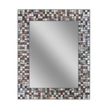 Deco Mirror 30 in L x 24 in W Earthtone Copper Bronze Mosaic