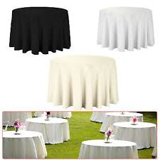 details about 120 plain round black white ivory polyester tablecloth dining party table décor