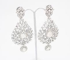 long chandelier crystal diamante dangling drop earrings silver or gold