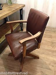 vintage leather office chair. RARE Vintage SWIVEL CHAIR Old Leather OFFICE Antique HILLCREST Desk Chair Office R
