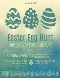 Beautiful Easter Egg Hunt Invitation Flyer Royalty Free Cliparts