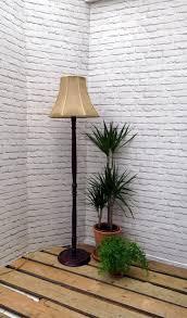 Vintage Standard Floor Standing Lamp Turned Wood With Handmade Hessianburlap Lamp Shade