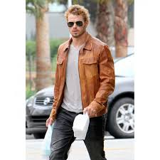 kellan lutz distressed tan brown leather jacket
