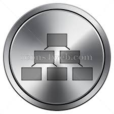 Organizational Chart Icon Round Icon Imitating Metal