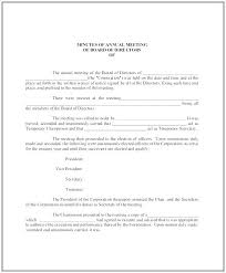 Annual Corporate Minutes Template Free Annual Meeting Minutes