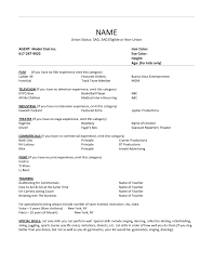 Talent Resume Format Acting Resume No Experience Template Umecareer