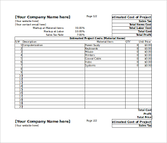 price estimate template blank estimate template 23 free word pdf excel google sheets