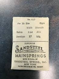 Elgin Mainspring Chart Elgin Factory Mainspring For 16s No 817 Steel 12 00