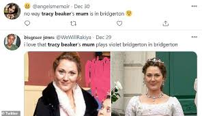 Viewers couldn't get enough of dani harmer's return as the iconic tracy as many said the return fuelled childhood nostalgia. Bridgerton Fans Go Wild As They Spot Violet Is Played By Tracy Beaker S Mum Actress Daily Mail Online