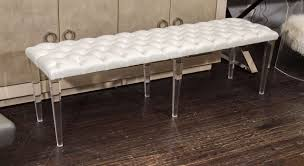 bench with lucite legs. Exellent Lucite Custom Tufted Leather With Lucite Leg Bench In Excellent Condition For Sale  New York With Legs C
