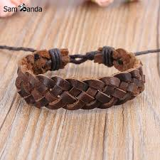 handmade crosshatched leather bracelet