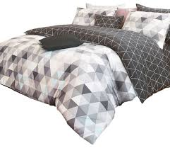 reversible triangle pattern sateen duvet cover set queen charcoal and gray contemporary duvet