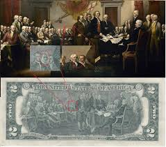 today i noticed that on the back of the 2 dollar bill there s a ghost that isn t on the original painting
