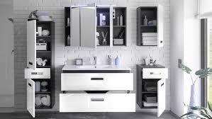 Badezimmer Set Melissa 5 Tlg In Grau Weiß Hochglanz Mit Led Becken