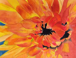 dahlia paintings impressionism fl watercolor by christina giza