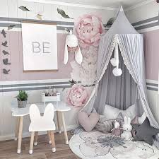 US $36.49 27% OFF|Round Pink/White/Gray Bed Canopy for Girl Baby Crib Bed Curtain with Lace Kids Play Tent House Dome Hanging Children Room Dossel-in ...