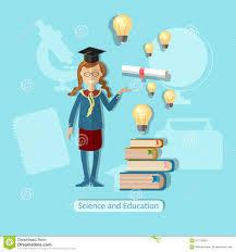 Школьница концепции образования диплом сила знания Иллюстрация  Школьница концепции образования диплом сила знания
