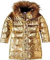 Appaman Kids Baby Girls Metallic Long Down Coat With Faux Fur Hood Toddler Little Kids Big Kids Antique Gold 4 Us Toddler