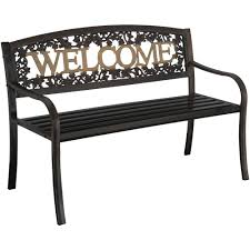 Park Bench Walmart Leigh Country Welcome Bench Black Gold Walmartcom