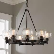 İron chandelier rustic seeded globe chandelier 9 light fccxoea