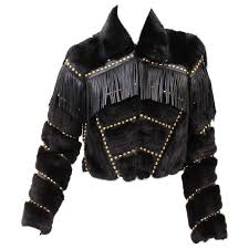 versace fur cropped jacket with studs and leather fringe for