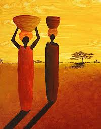 the watering hole african women by madart canvas print canvas art by megan duncanson