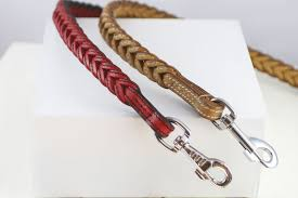 work sauri red and beige leather dog leash