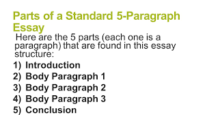 paragraph essay structure brought to you by powerpointpros com 3 parts of a standard 5 paragraph essay here are the 5 parts each one is a paragraph that are found in this essay structure 1 introduction 2 body