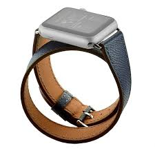 zonabel hermes style double wrap strap for 38mm apple watch navy