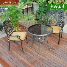 caneline balcony patio garden outdoor furniture elizabeth fando casted aluminium glass round table and two chairs