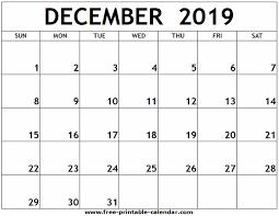 December 2019 Printable Calendar Free Printable Calendar Com