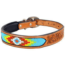 x170 heavy duty handmade genuine leather beaded hand tooled dog collar tan