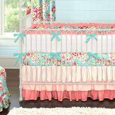 Coral and Teal Floral Baby Crib Bedding