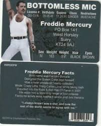Novelty Id License Ebay Card Drivers Fake Collectors Freddie Mercury Queen Of