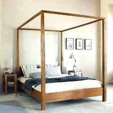 Wood Canopy Beds Queen Wooden Four Poster Bed Frame 4 Post Black ...