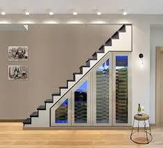 brushed stainless modular under stairs wine cabinetmodern staircase los angeles