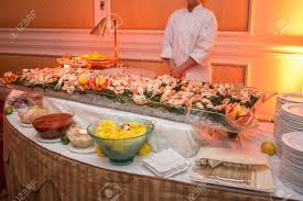 Buffet Table With Seafood With Shrimp ...