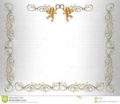 Wedding Invitation Border Gold Hearts Stock Illustration Image