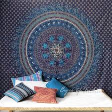 hippie boho elephant mandala tapestry wall hanging bedspread large queen