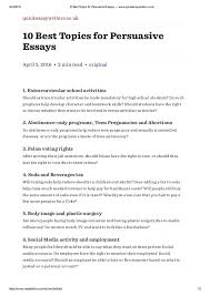 Interesting Topics For Persuasive Essays Resume Examples