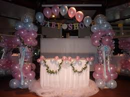 decoration: Remarkable Party Balloons Decorations For Enthralling Baby  Shower Party With White Tablecloth On Square