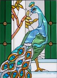 peacock panel via to start making your own faux stained glass
