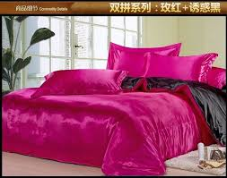 black and hot pink silk satin bedding comforter set king queen full size sheets linen bed