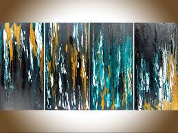 meteor shower ii by qiqigallery 48 x24 original modern abstract free flow acrylic art office wall