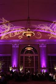 purple wedding lighting and a gobo from beyond for this wedding at union station in dallas texas