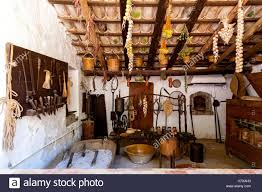 Old Fashioned Kitchen Old Fashioned Kitchen With Ancient Dishes And Hanging Garlic And