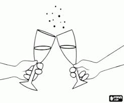 Kleurplaat Een Champagne Heildronk Kleurplaten