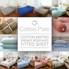 cotton bed sheets.  Bed Cotton Pure 100 Cotton Knitted Wrinkle Resistance Fitted Sheet   Bedsheet Set For Bed Sheets